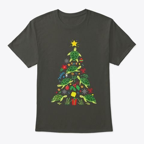 Christmas Sea Turtle  Smoke Gray T-Shirt Front
