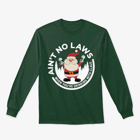 Santa Drinking Funny Christmas T Shirt Forest Green T-Shirt Front