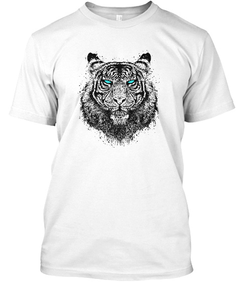 Tiger Gaze White T-Shirt Front