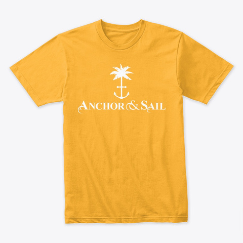 Anchor And Sail Palm Tree And  Anchor Gold T-Shirt Front