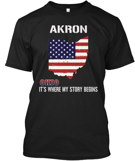 Akron Oh   Story Begins Black T-Shirt Front