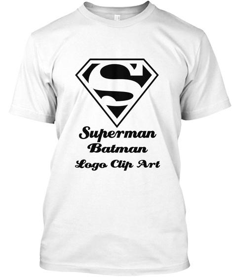 Superman Batman   Logo Clip Art White T-Shirt Front