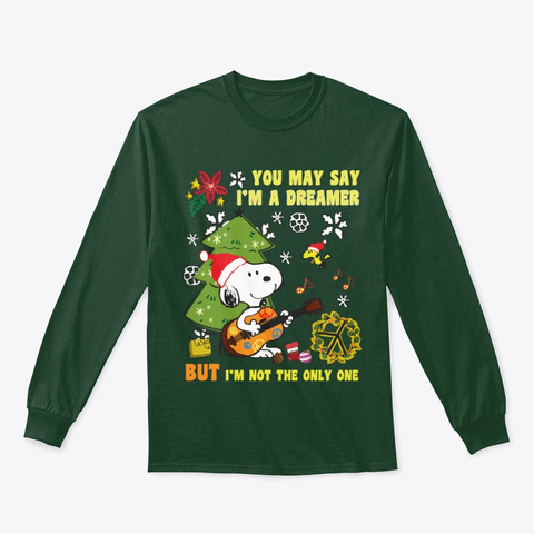 Peace Dreamer   Christmas Forest Green T-Shirt Front