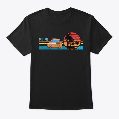 Vintage Miami Beach Hippie Surfing Van Black T-Shirt Front