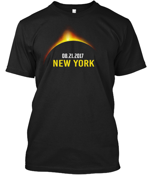 Eclipse   New York  2017. Customizable City Black T-Shirt Front