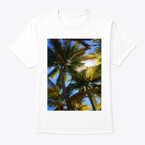 Palm Tree Tropical Island Holiday T Shirt White T-Shirt Front