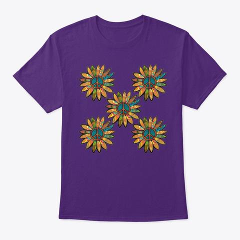 Green Peace Sign Flower Tile Purple T-Shirt Front