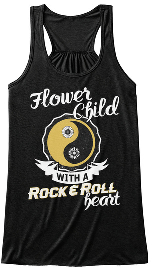 Flower Child Whit A Rock & Roll Heart Black T-Shirt Front