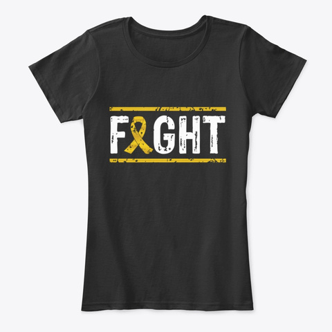 Fight Childhood Cancer Awareness Tee Black T-Shirt Front