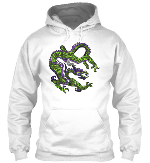 Hoodie Green Chinese Dragon White T-Shirt Front