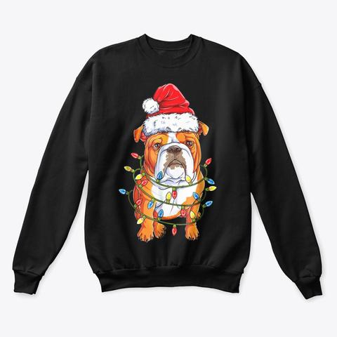 English Bulldog Christmas Shirt  Black T-Shirt Front