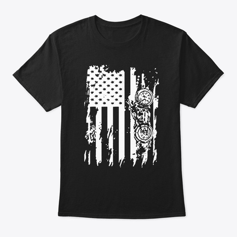 Motorcycle  American Flag Patriotic Vint Black T-Shirt Front
