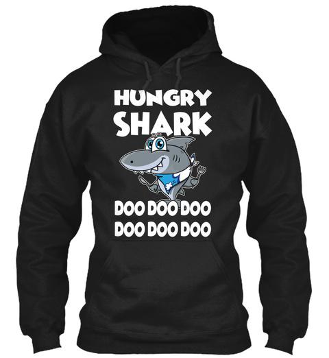 Hungry Shark :D Black T-Shirt Front