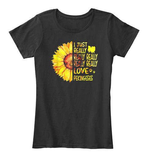 Pekingese Sunflower Shirt Black T-Shirt Front
