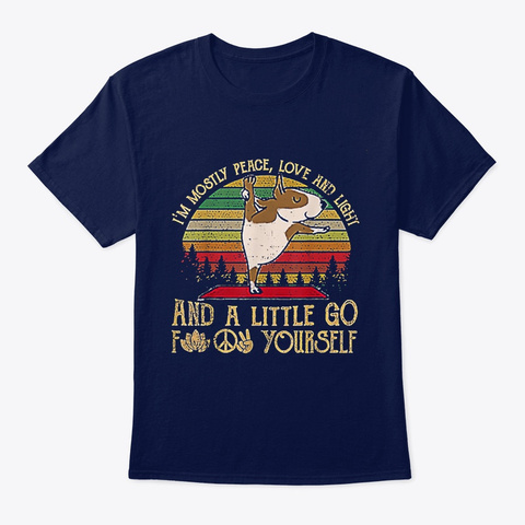 Dog I'm Mostly Peace Love Navy T-Shirt Front