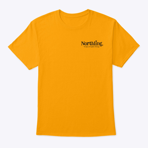 Northling™ Nightlife Wolf   Style 1 (Ob) Gold T-Shirt Front