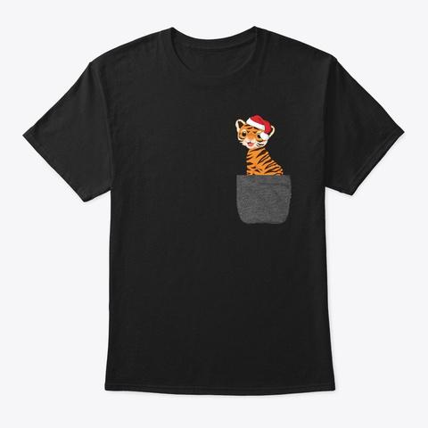 Tiger Santa Christmas Shirt Black T-Shirt Front