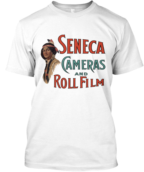 Seneca Cameras And Roll Film White T-Shirt Front