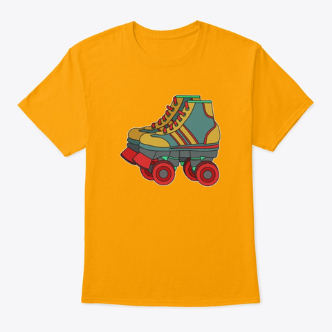 Classic Cool Tshirt Design Roller Blade Gold T-Shirt Front