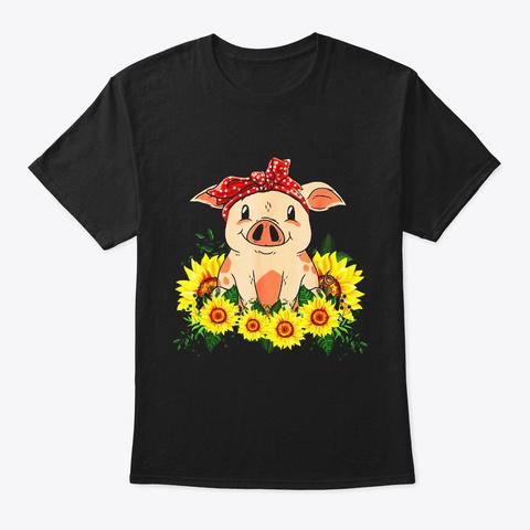 Cute Pig Bandana Shirt Sunflower T Shirt Black T-Shirt Front