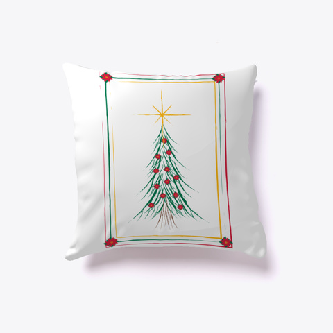 Merry Christmas Tree Pillow White T-Shirt Back