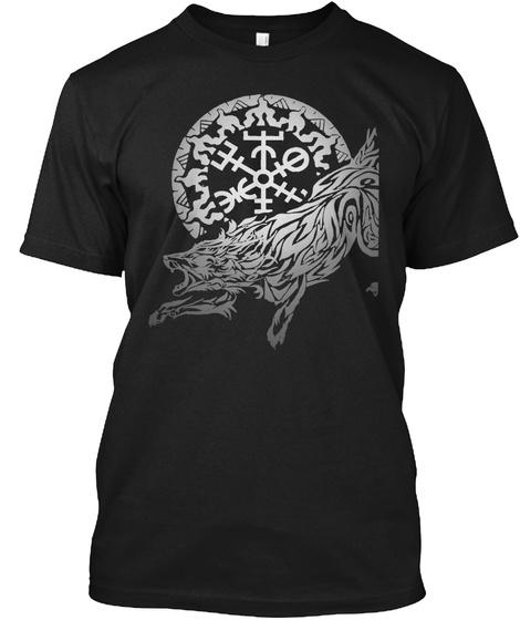 Viking Fenrir Wolf   Norse Mythology Black T-Shirt Front