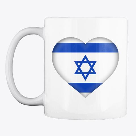 Heart Shaped Israeli Flag Mug White T-Shirt Front