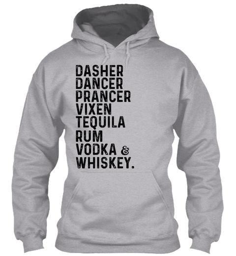 Dasher Dancer Prancer Vixen Alcohol List Sport Grey T-Shirt Front