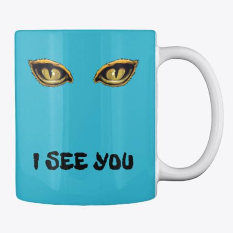 Funny Creepy Halloween Mug Coffee Cups Turquoise T-Shirt Back