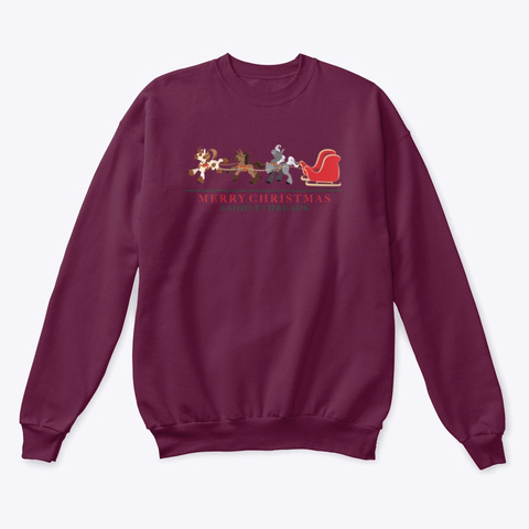 Santa's Sleigh Ponies Maroon  T-Shirt Front