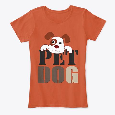Cute Pet Cartoon Dog Deep Orange T-Shirt Front