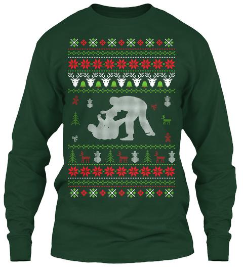 Jiu Jitsu   Ugly Christmas Sweater Forest Green T-Shirt Front