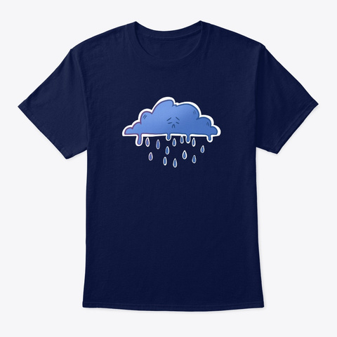 The Cloud Life   Sad Cloud Navy T-Shirt Front