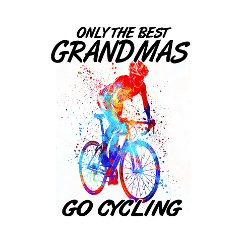 The Cycling Grandma Canvas White T-Shirt Front