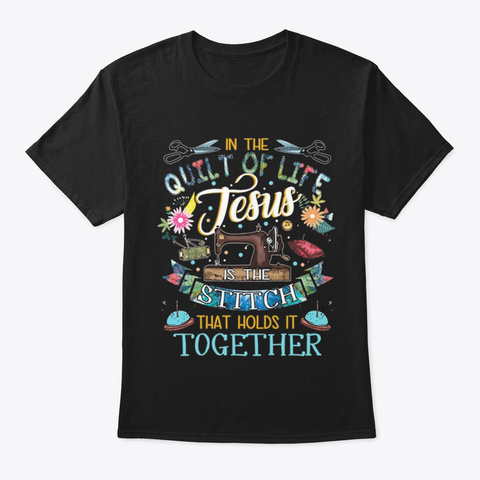 Quilting Shirt Black T-Shirt Front