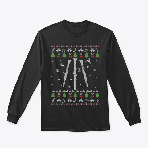 Clarinet Ugly Christmas Clarinet Player  Black T-Shirt Front