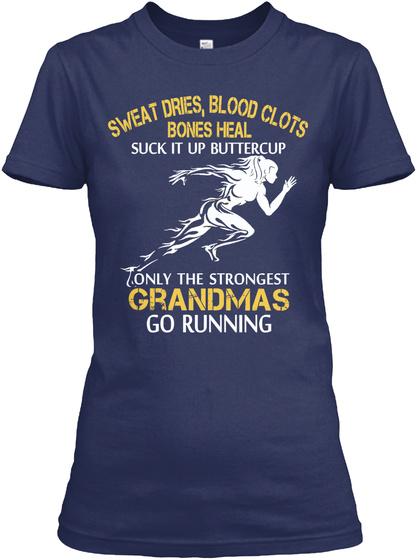 Strong Running Grandma Navy Women's T-Shirt Front
