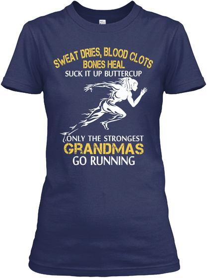 Strong Running Grandma Navy T-Shirt Front