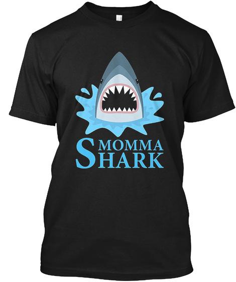 Momma Shark T Shirt Black T-Shirt Front