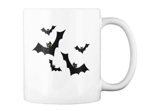 Halloween Castle And Bats  White T-Shirt Back