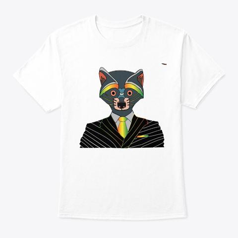 Code002   Unique Raccoon Party Style White T-Shirt Front