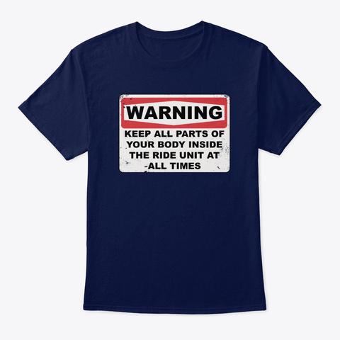 Roller Coaster Warning Sign Navy T-Shirt Front