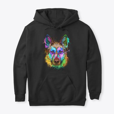 German Shepherd Splash Art Black T-Shirt Front