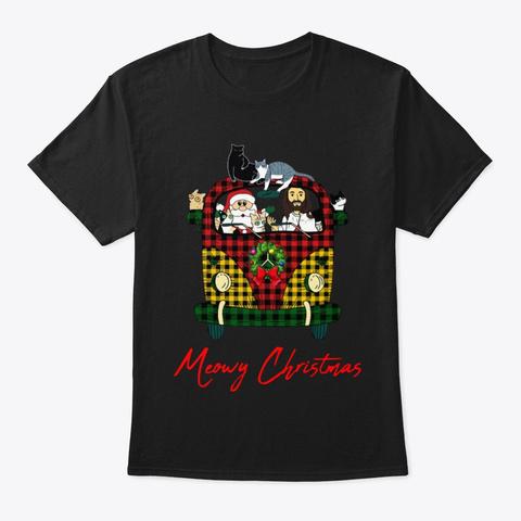 Jesus Santa Claus Meowy Christmas Shirt Black áo T-Shirt Front