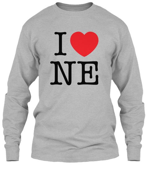 I Love Nebraska  Valentiens Day Sport Grey T-Shirt Front