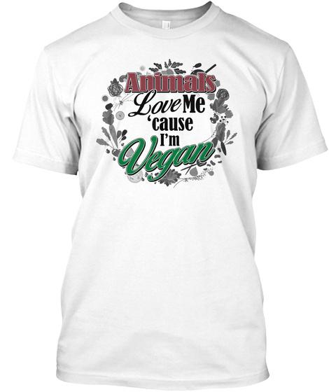 Animals Love Vegans White T-Shirt Front