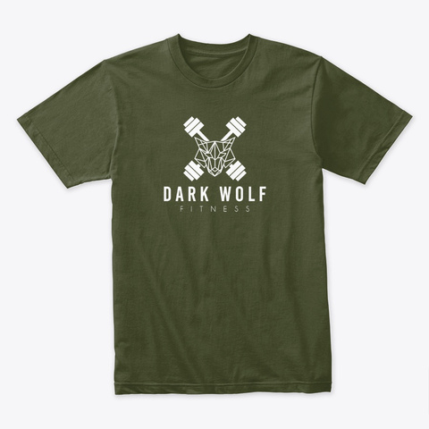 Dark Wolf Fitness Store Just The Logo Military Green T-Shirt Front