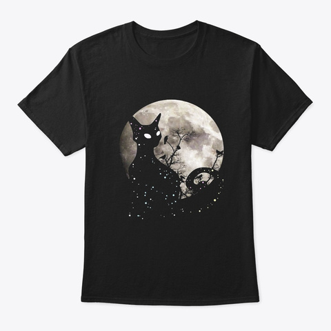 Halloween Cat Scary Black Cat Gothic Black T-Shirt Front