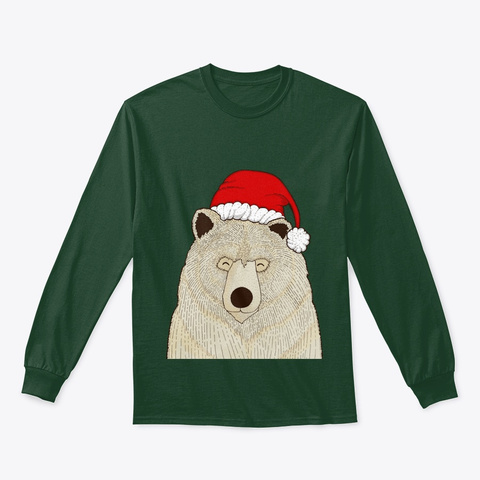 Christmas Bear Pajamas Long Sleeve Tee Forest Green T-Shirt Front