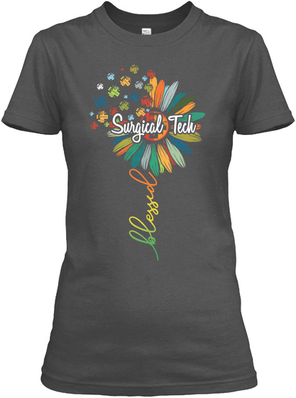 Surgical Tech Blessed Charcoal T-Shirt Front